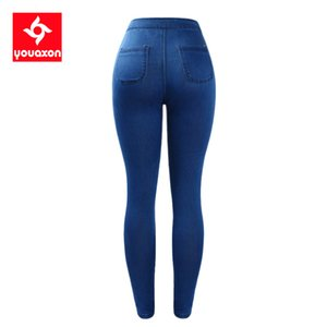1894 Youaxon Plus Size High Waist Stretchy Jeans Women`s Brand New Blue Skinny Denim Pants Jeans For Women Jean Femme Trousers 201014