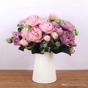1 Bouquet 5 heads Artificial Peony Tea Rose Flowers Camellia Silk Fake Flower flores for DIY Home Garden Wedding Decoration