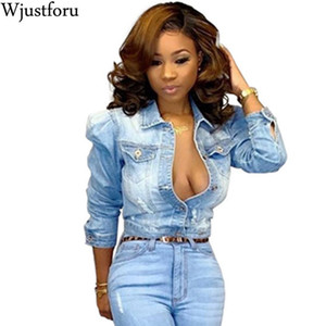 Wjustforu Fashion Ripped Denim Short Jacket Women Skinny Autumn Winter Warm Casual Jean Jacket Hollow Out Sexy Hole Coat Ladys 201013