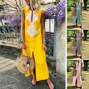 Autumn Women Patchwork Dress Vintage Casual Loose Maxi Long Dresses Stand Neck Sleeveless Beach Dress Vestidos Plus Size