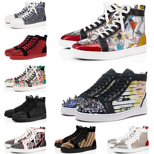 2021 Rote Bottom Sneakers Casual Shoes Herren Womens Low High Designer Full Spikes Roller Boot Wohnung Skateboard Müßiggänger Luxus Mann Frau Schuh