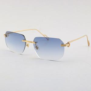 Venta de gafas de sol de metal de moda UV400 Protección Rimless 18K Oro Masculino y femenino Gafas de sol Escudo Retro Diseño Eyeaglasses Marcos Hombres