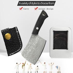 Fixed Blade Cutter Knife Pocket Keychain Camping Knife Damascus Veins Knife Kitchen Mini Multifunction Portable Edc Crafts Gift Sheath
