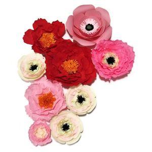 2020 Krep Kağıt Çiçekler Backdrop Dev Kağıt Çiçekler Duvar Yapay Çiçek Kreş Doğum Deco El yapımı Düğün 9pcs