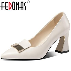 FEDONAS Metal Decoration High Heels Pumps Genuine Leather Fashion Women Shoes 2020 New Arrival Summer Wedding Prom Shoes Woman