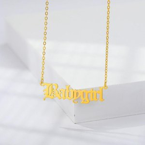 New Old English Letter Babygirl Choker Necklace Pendants for Women Lovers Creative Stainless Steel Jewelry Necklaces Wholesale
