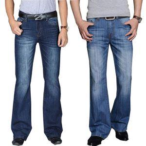Jeans Men 2020 Mens Modis Big Flared Jeans Boot Cut Leg Flared Loose Fit high Waist Male Designer Classic Blue Denim