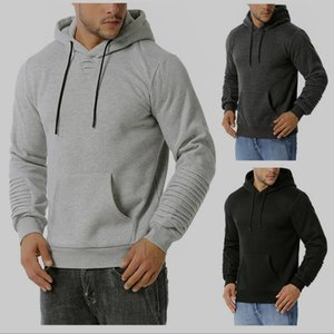 New fashion men's Hoodie quilted sports casual Hoodie sweater solid color loose coat
