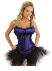 Classic Women's Ribbon Lace Overbust Corset Busiters with Layered Mini Skirt Tutu Dress Set Halloween Christmas Night Out Club Wearing