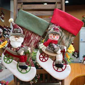 Factory wholesale Christmas socks gift bag Santa candy bag three dimensional doll Christmas decoration Christmas socks gift Free Shipping
