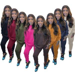 Mujeres sólido de color pieza chándal de dos sets manga larga sudadera con capucha Trajes jogging Sportsuit señoras otoño e invierno ropa deportiva