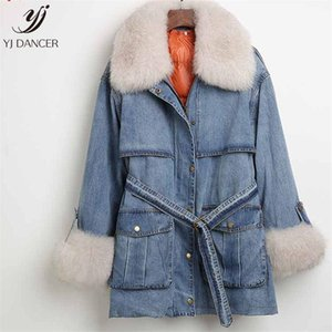 Down Jacket Coat Cowgirl Detachable Liner 2020 Winter High quality Fashion New Fur Fur Collar Belt Old Denim Coat HJB407