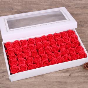 50 unids / caja de jabón rosa flor 5 cm de diámetro Diámetro hecho a mano Flor de jabón caja de regalo Bouquet para el día de San Valentín para la novia Regalo de cumpleaños