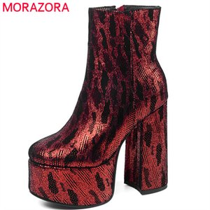 2020 new arrival party Night Club Shoes women ankle boots round toe zip high heels platform boots woman big size 43210