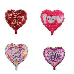 18 pouces en forme de coeur Ballons de mariage Valentines Saint Valentines Je t'aime Aluminium Foil Helium Ballons de mariage Ballon de décoration de mariage 167 N2