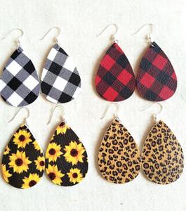 Boucles d'oreilles en cuir léopard PU Ensemble boucle d'oreille à carreaux pour femmes Teardrop Établissement creux Établissement en cuir