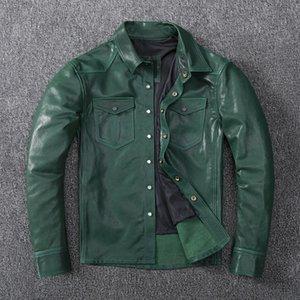 Мужская кожаная искусственная, мода зеленая загара из овчины рубашка.