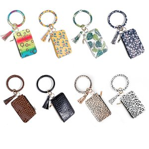 Women Fashion Floral Leopard Leather Bracelet Keychain Credit Card Wallet Key Rings with Tassel Wristbands Clutch Purse GWB4409