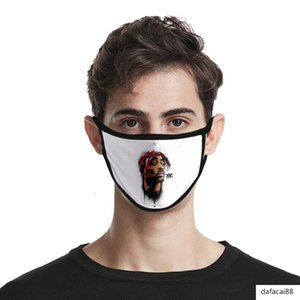 Periferiche 3D cantante Hip-hop 2PAC Maschera di stampa ghiaccio seta Moda antipolvere tessuto lavabile Periferiche 3D Singer hip-hop 2PAC Mask Stampa Swtg