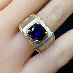 Кластерные кольца Est Muscular Power Ring Blue Gem Sapphire ювелирные изделия подарок размером 8 мм * 8 мм цвет 925 серебристый золотой подарок1