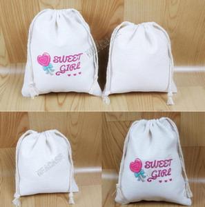 matériel de lin de coton Sublimation Sac à cordonnet Candy Bag Noël transfert thermique blanc Pochette de rangement Paquet bracelets Sacs D102907