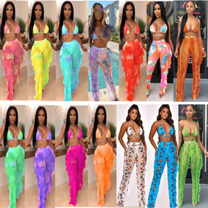 Women Bikini Beach Set Letter Printed Swimwear Sexy V Neck Backless 2 Piece Wear Bandage Women Two Piece Wholesale Pleated Trousers