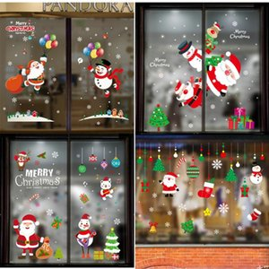 Christmas Wall Stickers Christmas Decoration for Home New Year Windows Santa Claus Elk Glass Wall Sticker Kids Room Home Decor