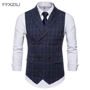 Ffxzsj hombres traje chaleco 2018 dobles breasted chaleco slim fit gilet hombres negocio boda colete masculino social blazer más tamaño1