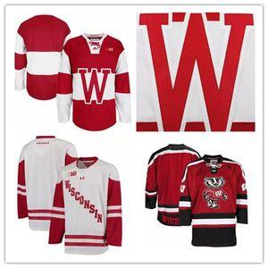 Высокое качество Mens NCAA Висконсин Барсуки колледж хоккея взрослых Белый Красный Stithed Висконсин Барсуки пустой Джерси S-3XL бесплатная доставка