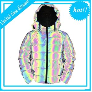 Mens Parka Winter Thick Cotton Coat Men Reflective Colorful Light Waterproof Windproof Thicken Keep Warm Overcoat Hooded Jacket