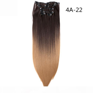 22 Inch Straight Real Thick Full Head Clip In Hair Extensions 6 Pcs Natural Black Brown Heat Resistant Synthetic Hair 130g pc