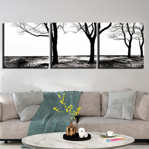 3 Pieces HD Print Canvas Art Decoration Pictures Black White Tree Posters Painting Wall Art Home Decoration For Living Room
