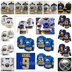 2021 Reverse Buffalo Sabers Jack Eichel Rasmus Dahlin Jeff Skinner Em branco Casa Royal Marinho Azul Branco Away Stitched Ice Hockey Jerseys