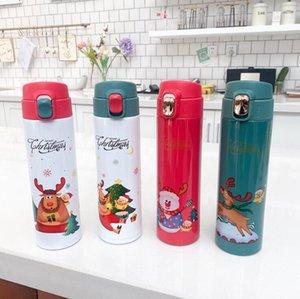 Botella de agua de dibujos animados de Santa Claus Elk emergente Aislar vacío termo de acero inoxidable tazas del viaje del estudiante recto frasco de agua DHD2392