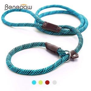 Pet 2 corda deslizante ajustável durável em 1 cão pequeno colarinho confortável harness coleira grande meidum benepaw loop mvhgg