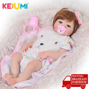 KEIUMI 23 '' Fashion Silicone Renascer Baby Dolls completa Vinil corpo realista lavável renascido Presentes Baby Crianças do aniversário da menina para a boneca 201021