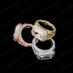Unisex Men Women Ring High Quality Gold Plated Bling Square Diamind CZ Tennis Ring Nice Gift for Friends