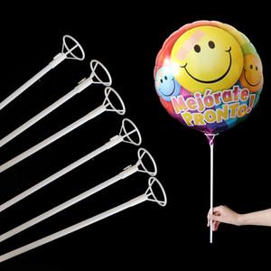 50pcs / lot 40cm Folienballon aus weißen PVC Ruten für Ballons Halter Sticks mit Cup-Partei-Dekoration Zubehör 1027