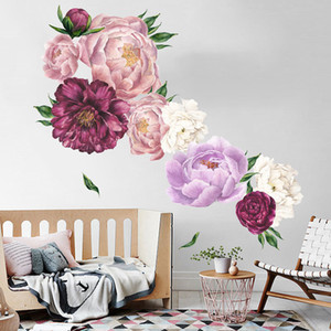 1PCS 3D Flowers Wall Stickers Vintage Peony Home Decor For Bedroom Room Decoration Wallpaper Diy Vinyl Decals C1005