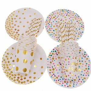 10pcs lot Plate Straw Cup Disposable tableware Hot stamping Colorful decoration for wedding birthday supplies KfjG#