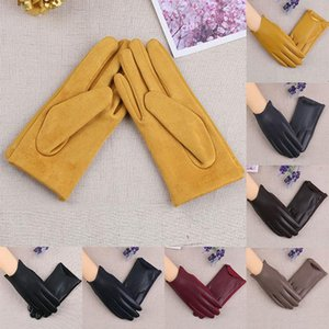 Solid Color Suede Leather Glove PU Leather Plush Lined Touch Screen Women Gloves Thickened Driving Gloves Keep Warm Full Fingers