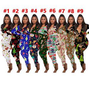 Femme Noël Imprimer Pantalons Accueil Jumpsuit Vêtements Noël Tenues Barboteuses rayé Elk One Piece Vêtements Parti D102301
