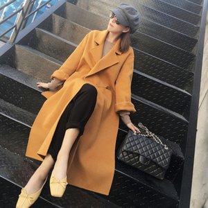 Snordic зима женщин Желтой Длинная шерсть куртка пальто воротник отложной Split Hem шерстяное пальто с поясным Элегантным кардиганом