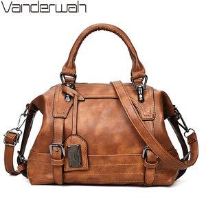 Женская сумка Урожай сумка на плечо роскошные сумки PU кожаные сумки для женщин для женщин Бостон вскользь Tote Bolsa Feminina LJ210203