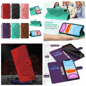 Imprint Leather Wallet Case For IPhone 12 Mini 11 Pro Max XR XS MAX 8 7 6 SE 2020 Peacock Flower Lace ID Card Slot Holder Flip Cover Lanyard