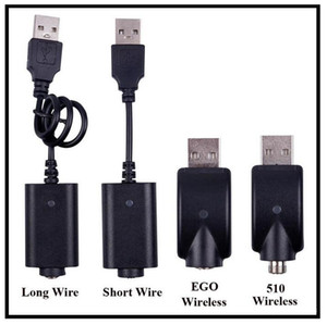 EGO USB Charger Cable Long Short Wired Charging Cable 510 EGO EVOD Wireless USB Charging Cord for E Cig Cartridge Batteries