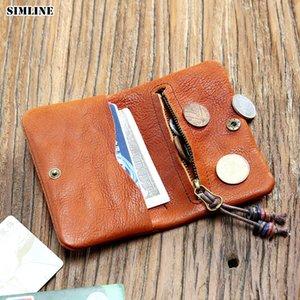 Simline Zipper avec des hommes Petites femmes Vintage Femmes à la main Véritable portefeuille véritable Portefeuille mince portefeuille porte-monnaie femelle en cuir courte poche FBKJC