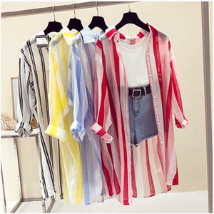 New Long Sleeve Striped Beach Kimono Women Summer Autumn Long Blouse Thin Sun Cover Up Casual Loose Shirts Cardigan Female