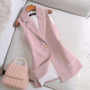 2020 Spring Autumn Women Vintage Long Blazer Vest Chic Single Button Sleeveless Suit Female Jacket Outwear Waistcoat Tops M111