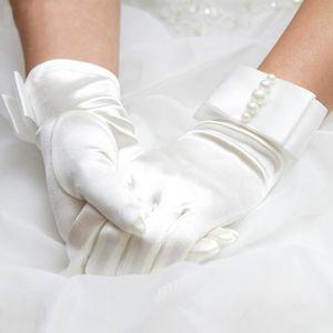 Female Short Thin Bow Silk Satin Pearl Gloves 22cm Elastic Mercerized Retro Party Dress Summer UV Sunscreen Driving Mittens L28L